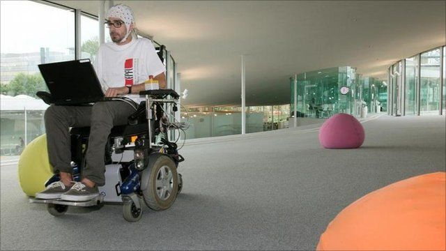 The prototype wheelchair in action