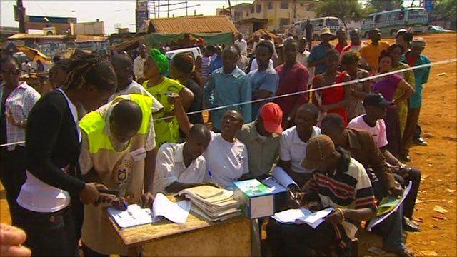 Ugandans at polling station in Kampala