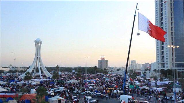 Protesters in Bahrain's Pearl Square