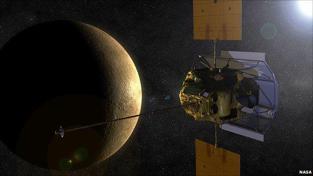 Artist's impression of Messenger approaching Mercury