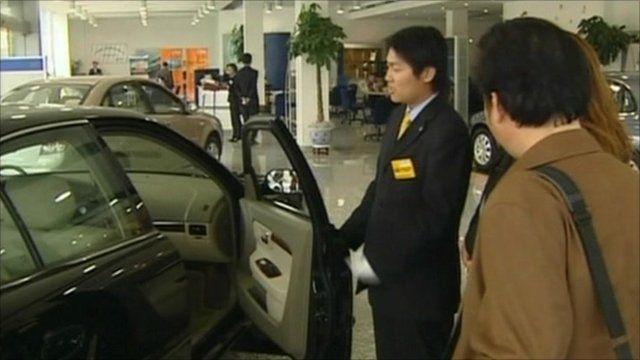 Car in a showroom