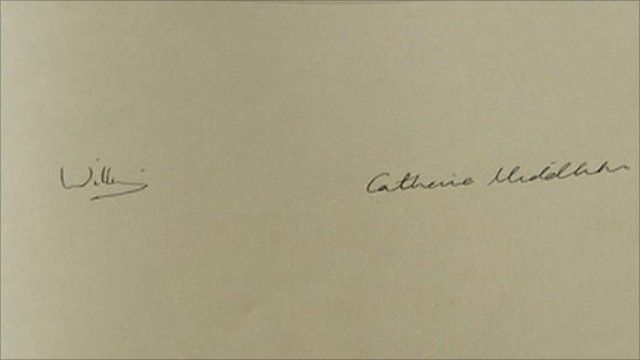 Prince William and his fiancee Kate Middleton signatures