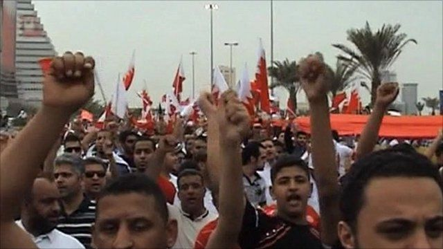 Marchers in Manama, Bahrain
