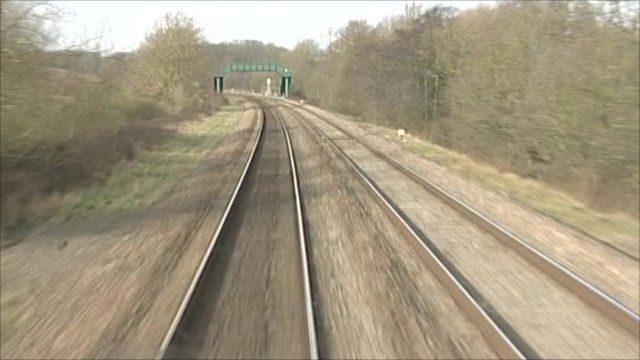 Train tracks filmed from the front of a train
