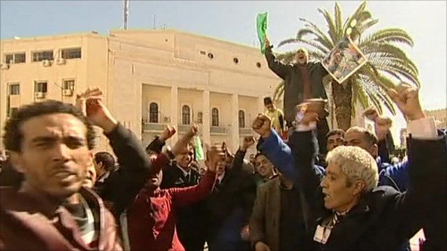 Gaddafi supporters in Tripoli