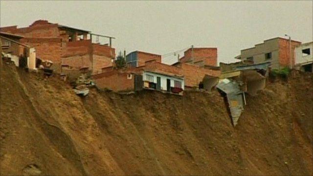 Buildings on edge of landslide