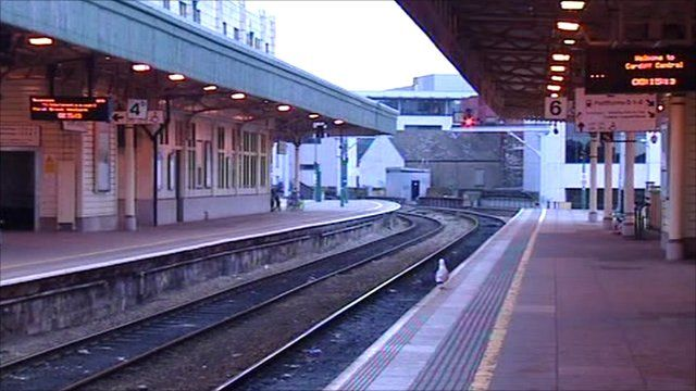 Cardiff Central station on strike day