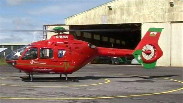 Air ambulance at Swansea