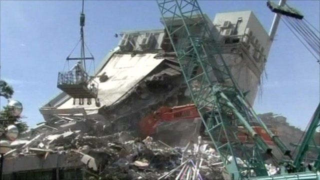 Building affected by the earthquake