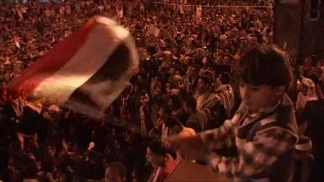 Crowds of protesters in Sanaa, Yemen