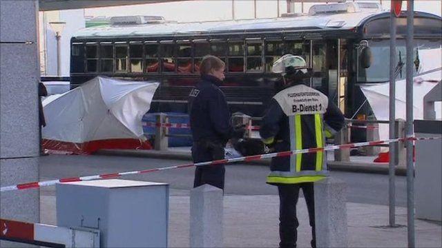 Emergency workers at Frankfurt airport