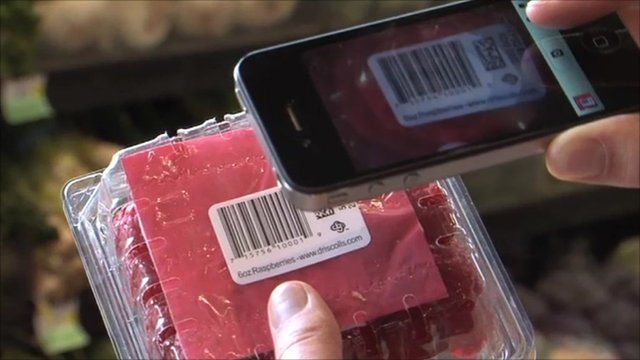 A mobile app reads the barcode on a food packet
