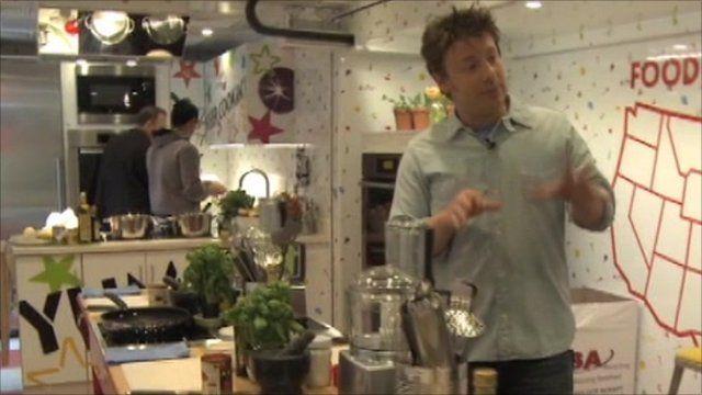 jamie oliver unveils his 'food revolution' truck - bbc news