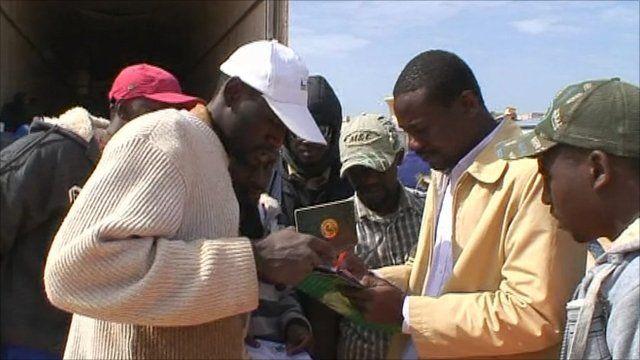 Migrant workers leaving Libya