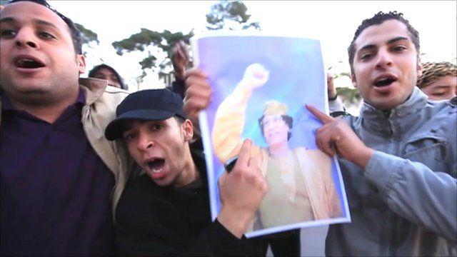 Supporters of Colonel Gaddafi
