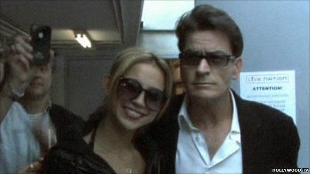 Charlie Sheen (r) with one of his girlfriends