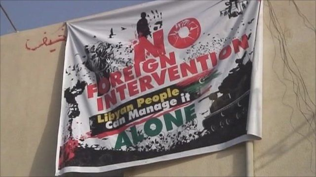 A poster in Libya calls for 'no foreign intervention'