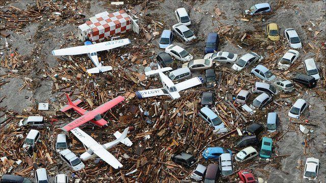 Sendai airport debris