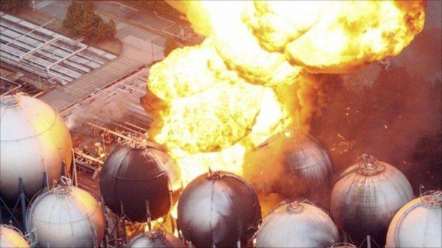 Natural gas storage tanks burning