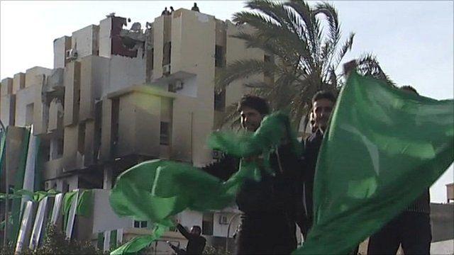 Gaddafi supporters celebrate in Zawiya