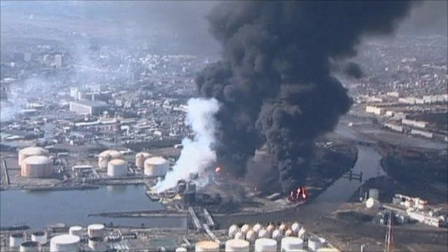 Aerial footage of an industrial complex in Sendai