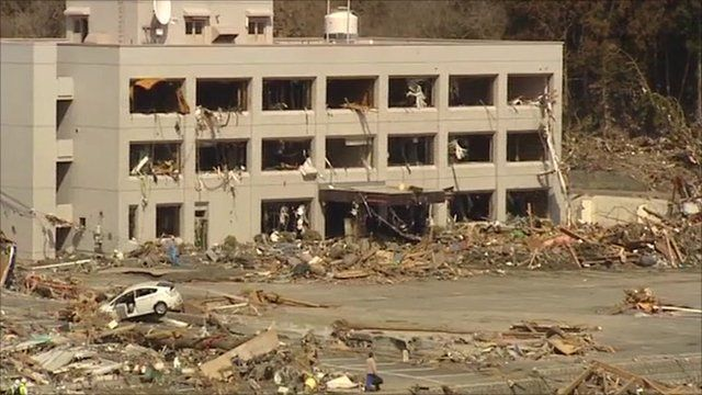 Building in town of Minamisanriku, Japan, flattened by tsunami