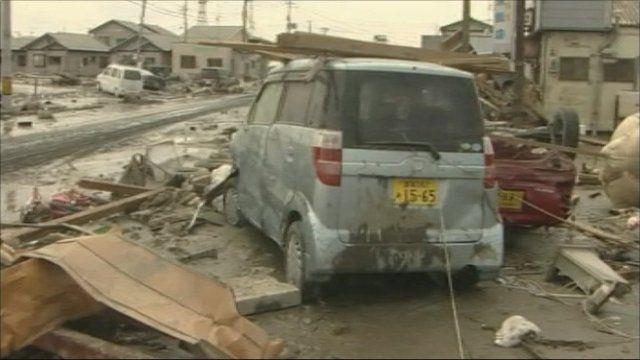 Damaged vehicles in Ishinomaki