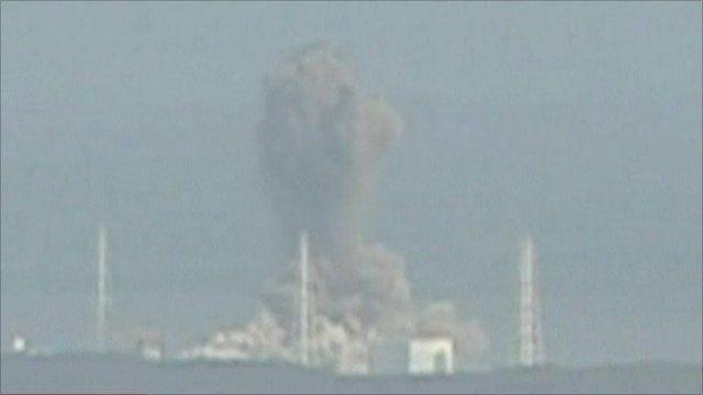 A huge column of smoke billows from Fukushima Daiichi's reactor 3