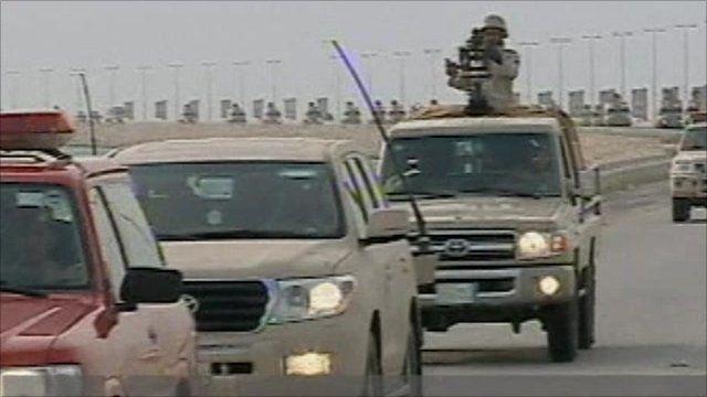 Saudi troops on Causeway towards Bahrain today
