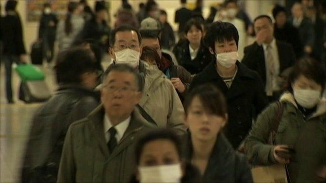 People in Japan wearing face masks