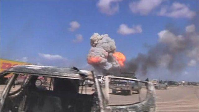 Airstrikes on road