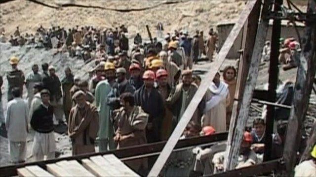 The scene outside the mine in Balochistan province
