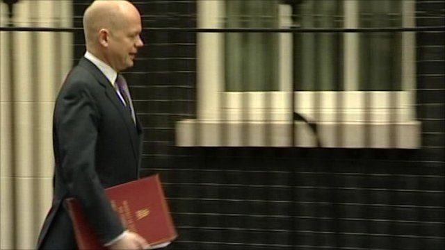 Foreign Secretary William Hague arrives at Number 10 Downing Street