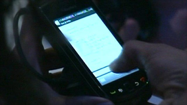 Blackberry device in use