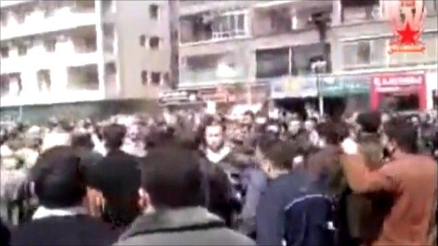 Protest footage sent to BBC of rally in Damascus