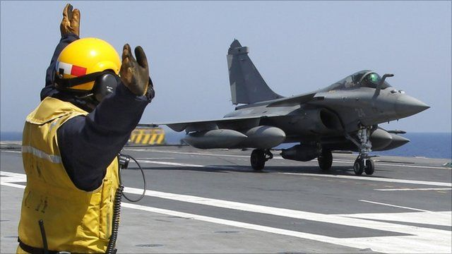 Rafale fighter jet on the Charles de Gaulle aircraft carrier