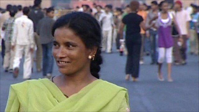 Woman walking in India