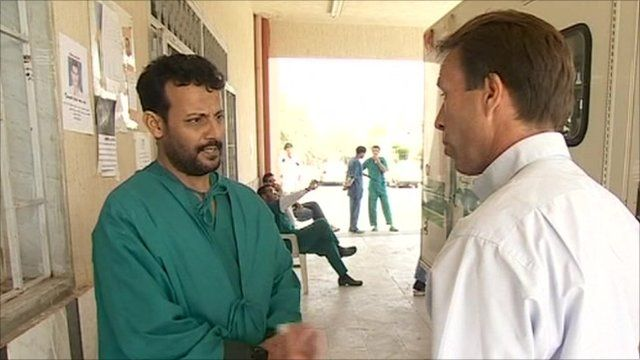 Dr Suleiman Refardi with the BBC's Ben Brown