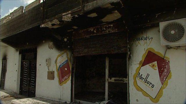 A burnt out shop