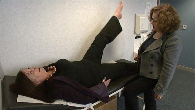 A woman lifting her leg
