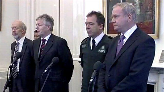 Peter Robinson, Martin McGuinness, David Ford and Chief Constable Matt Baggott