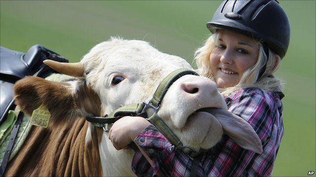 Regina Meyer and her trusty steed, Luna the cow