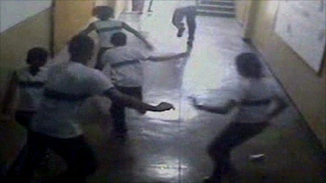 Pupils flee the gunman