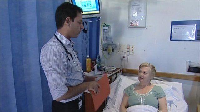 A nurse and a patient, UK