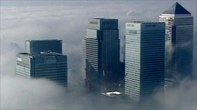 Aerial shot of London banking buildings