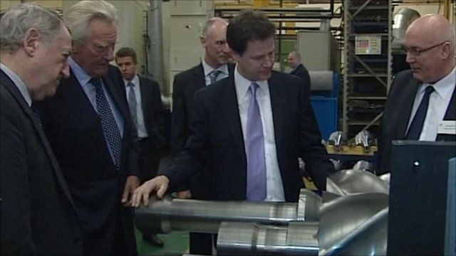 Nick Clegg and Lord Heseltine in Rochdale