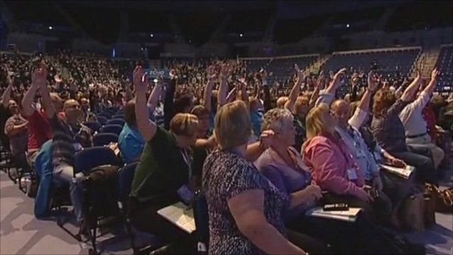 Nurses voting at the conference