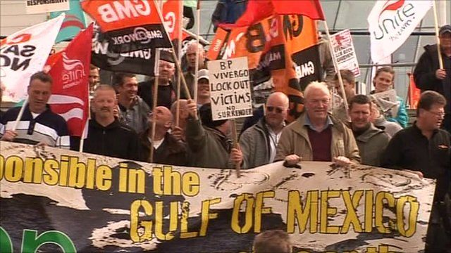Protesters outside the BP AGM