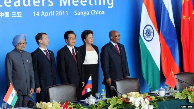 The leaders of India, Russia, China, Brazil and South Africa at the BRICS summit in Hainan