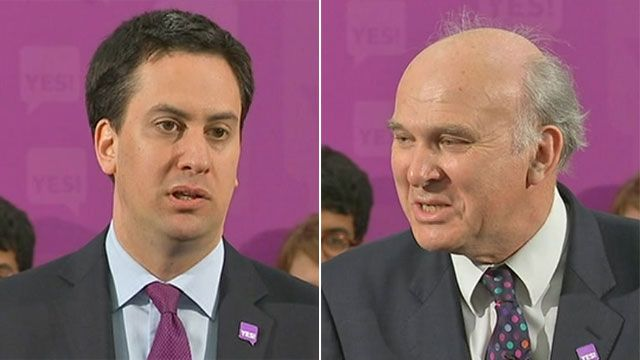 Ed Miliband and Vince Cable